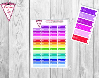 Printable Steps Flags - Functional Stickers w/Cut Line