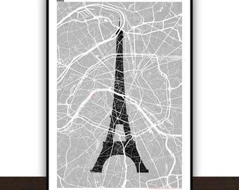 Paris Map Eiffel Tower Poster Poster Art print Map Impression Design Cartography