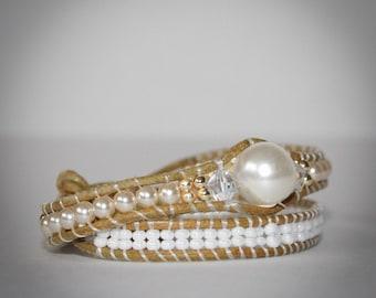 Leather Bracelet, Bead Bracelet, wrap bracelet, Swarovski bracelet handmade