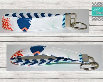 Navy/Mint/Coral/Lt. Blue/ Feather, Keychain, Key Fob, Wristlet Keychain, Wristlet Key Fob