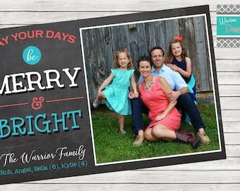 "Christmas Card ""Merry & Bright"" Single Sided Horizontal- Printable"