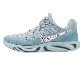 crystal Nike Lunarepic Low Flyknit 2 Bling Shoes with Swarovski Crystals Women's Running Shoes Glacier Blue Polarized Blue