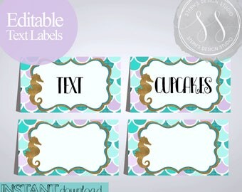 Mermaid Party Labels, Food Labels, Buffet Cards, Table Tent Menu Labels, Mermaid
