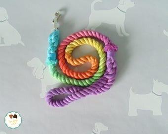 Rope Dog Lead 'Charlie's Rainbow' / Rope Dog Leash / 4ft Rope Dog Lead / 12mm / Rope Lead / Rope Leash / Pet Supplies / Rainbow / Ombre