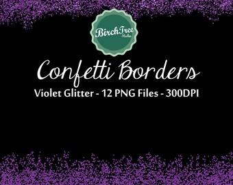 Confetti Clipart - Violet Purple Confetti Glitter Clipart - Invitation - Scrapbooking - Christmas Decoration - Paper -  Border
