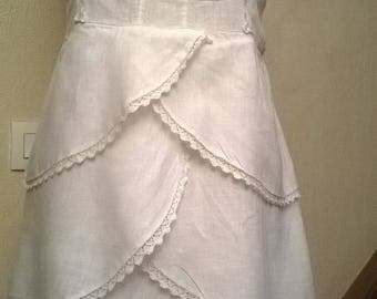 Short white linen and lace ruffle dress