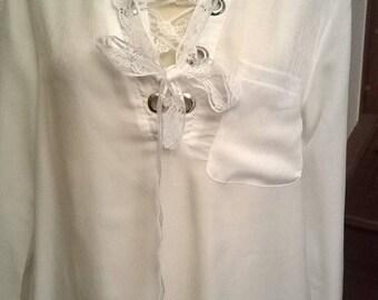 Silk and white cotton shirt dress