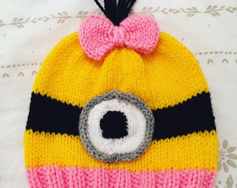 Hand knitted minion hat - new born