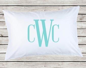 Girls Monogrammed Pillowcase, Personalized Standard Size Pillow Case Monogram