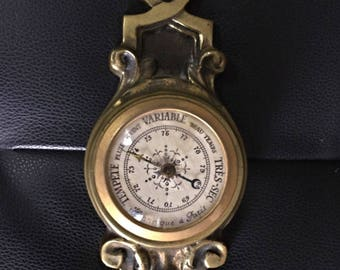 Perfect condition RARE barometer in bronze - Henry PARIS - precise functioning.