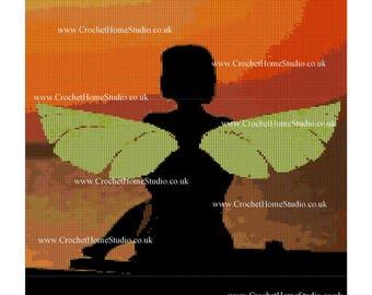 Fairy, sunset, blanket, large, afghan, crochet, knitting, graph, pattern, green fairy, magical, enchanted, fantasy, fairy bedding, decor