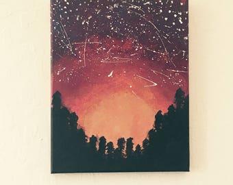 Galaxy Tree Sunset Scene