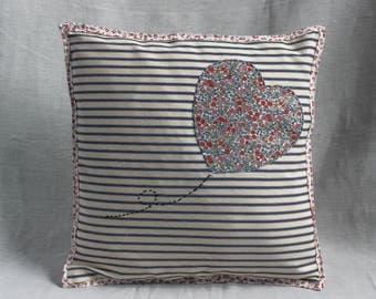 Handmade Small Liberty Print Heart Cushion- ticking & floral boas binding vintage style valentines birthday mothers day housewarming home