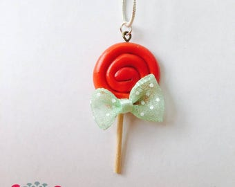 Green with bow lollipop necklace