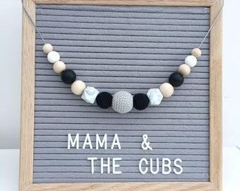 Black, Grey & White Teething Necklace