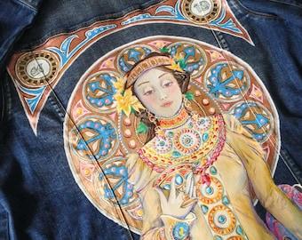 Mucha denim painted jacket (! Please read the description !)