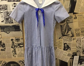 Vintage 1960s Nautical Blue & White Striped Sailor Dress with Pleated Skirt and Ribbon Tie Size 8 - 10