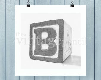 Wood Block- B, Nursery Art, Printable Nursery Art, Printable, Nursery Decor, Vintage Print, Vintage Art, Baby Room, Nursery Prints, Baby Art