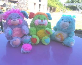 Set of 2 popples and 1 care bear