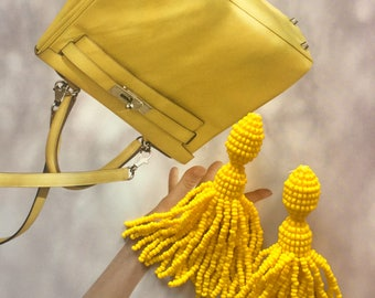 Sunflower Yellow Oscar de la Renta style medium-length earrings