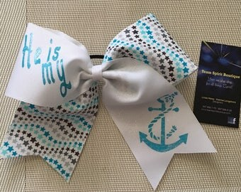 """Religious """"He is my Anchor"""" Cheer/Hair Bow"""