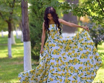 Summer long dress with a print of yellow lemons. Dress with lemons, summer dress, long dress, romantic dress