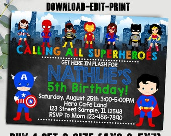 Avengers Invitation Etsy - Avengers birthday invitation wording