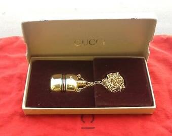 Authentic Gucci Vintage Perfume Bottle Necklace NIB