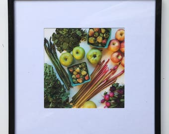FOOD PHOTOGRAPHY PRINT - farmers market produce art - kitchen art - fine art print - pink - green - fruit - vegetables