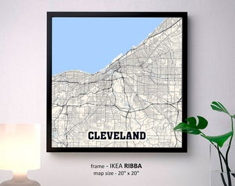 Cleveland Ohio Map Print, Cleveland Square Map Poster, Cleveland Wall Art, Cleveland gift, Custom Personalized map