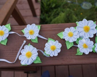 Summer daisies ribbon for pigtails on hairpins . Set of 2 .
