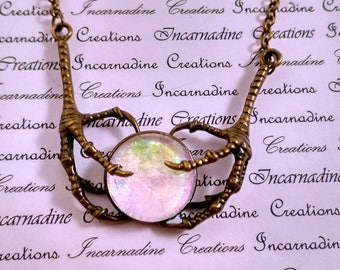 Bronze and white iridescent handpainted glass bird claws necklace