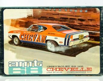Ultra Rare Vintage AMT 68 Chevy Chevelle SS 396 Chevam 1/25 Model Car 5628-200