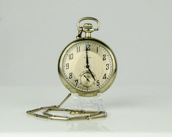 Vintage Elgin Large 18S Silver Pocket Watch
