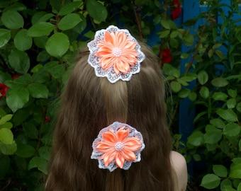 Orange hair clip, fabric flower hair, orange flower, flowers orange white, lace flower girl, orange flower gir, birthday gift girl