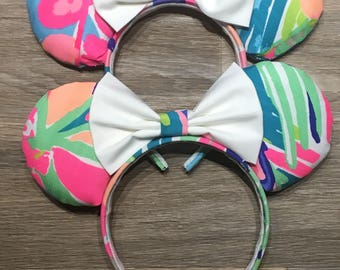 Lilly Pulitzer Minnie Mouse Ears - Disney Inspired Lilly Pulitzer Mickey Ears - Lilly Pulitzer - Minnie Mouse Lilly Ears