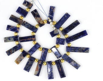 Natural Sodalite Flat Rectangle Shape Beads Sodalite Stone Blue Color Natural Stone Smooth Necklace Stone Sodalite Stone Blue Sodalite Beads