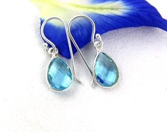 1 Pair Aquamarine Hydro Earrings,Sterling Silver Earrings,Hydro Jewelry,Gem Earrings,Girls Earring gifts,Women Earring,Pear Earring Gifts