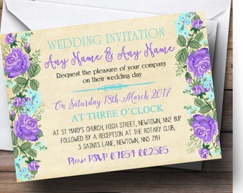 Vintage Purple & Blue Watercolour Personalised Wedding Invitations