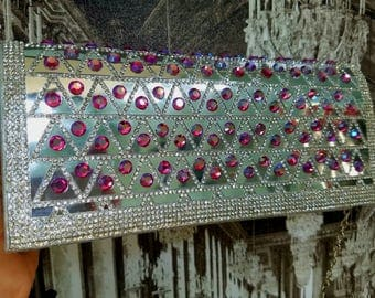Fancy silver bling purse/handbag with pink crystals