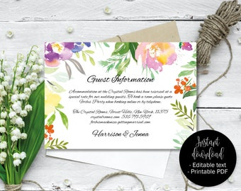 Wedding Guest Information Template, Editable Wedding Guest Information, Text Editable Template Printable, Watercolor Flower Border 9 INFO-9
