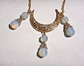 Crescent Moon & Opalite beaded Necklace or Headband 5S