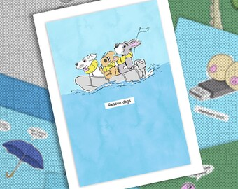 Funny cartoon rescue dogs greetings card