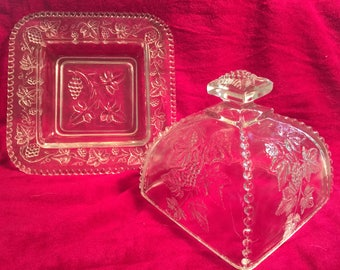Victorian Glass Cheese or Butter Server