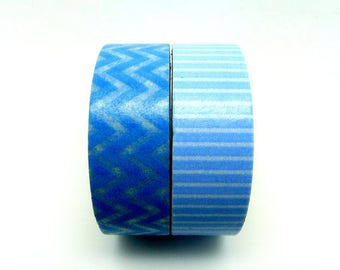 Set of 2 Rolls Light Blue Chervon and Stripes Washi Tape - 15mm x 5m - Gift Wrapping - Decorative Tape - Scrapbooking Sticker