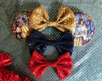 Stained glass Beauty and the beast inspired mickey ears!
