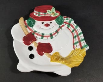 Vintage Fitz and Floyd Snowman Christmas Winter Holiday Plate
