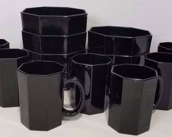 Vintage Arcoroc France Octime Modern Black Glass Dinnerware Bowls Mugs Mod