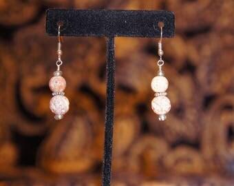 Rose Bead dangle earrings