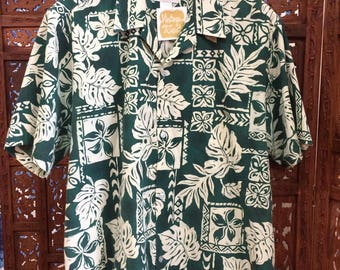 Vintage Howie Forest Green & Off White Classic Hawaiian Shirt - MADE IN HAWAII